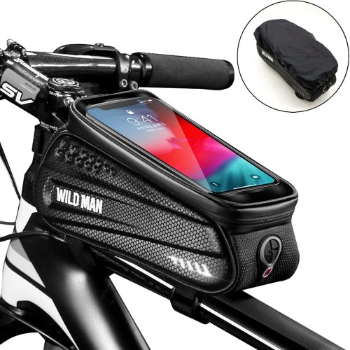 Bike Frame Bag with Mobile Phone Holder, Bicycle Top Tube Pouch, Waterproof Cycle Cell Phone Mount with Touch Screen Window, for iPhone Samsung Smart Phone up to 6.5 inch