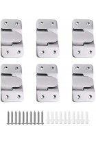 6 Pairs [12 Pack] Flush Concealed Mount Bracket Interlocking Hang Buckle Headboard Furniture Connector Stainless Steel Wall Mount Hardware Hanging for Pictures Mirrors Frames