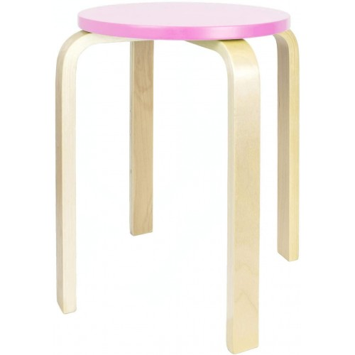 Pink Stackable WOODEN STOOL Home Seating Chair Sets