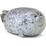Blivener Chubby Blob Seal Pillow Stuffed Cotton Plush Animal Toy Cute Ocean Pillow Pets Grey