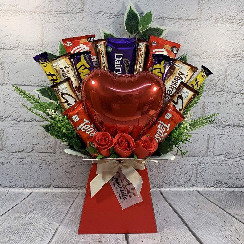 The Valentines Day Chocolate Bouquet with Balloon, Chocolate & Flowers