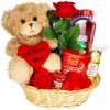 Valentines Day Hamper Gift Basket Chocolate Gift for Her , Girlfriend, Women, Wife Rose Teddy Bear Lindor Truffles Ferrero Rocher Milk Tray Yankee Candle Radox
