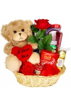 Valentines Day Hamper Gift Basket Chocolate Gift for Her , Girlfriend, Women, Wife Rose Teddy Bear Lindor Truffles Ferrero Rocher Milk Tray Yankee Candle Radox