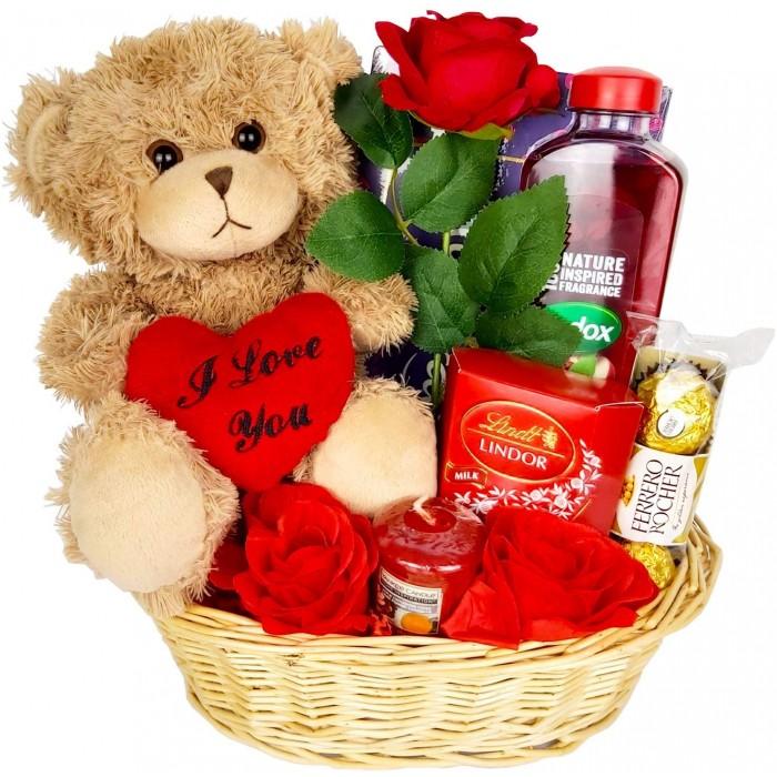 Valentines Day Hamper Gift Basket Chocolate Gift For Her Girlfriend Women Wife Rose Teddy Bear Lindor Truffles Ferrero Rocher Milk Tray Yankee Candle Radox