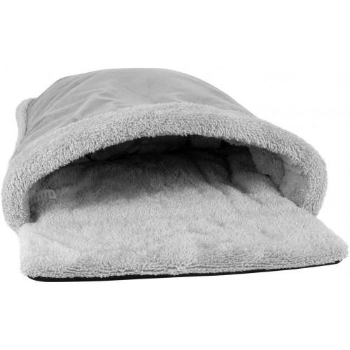 proudpet Cat Pouch Bed Cosy Grey Fleece Pet Hideaway