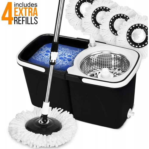 EVELYN LIVING 360 Spin Mop Bucket Set Stainless Steel Spin Wringer with 4 Microfibre Mop Head Pad Easy Press Handle Floor Cleaning