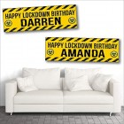 2 Personalised Birthday Banners - Lockdown Design 3 - Any Name or Any Requested Message Approx 3ft x 1ft