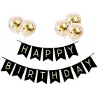 Happy Birthday Banner Birthday Bunting with 5 Gold Confetti Latex Balloons Perfect for Birthday Party Decorations - Black