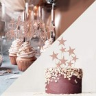 2 Sets Cake Decoration Rose Gold Cake Topper Happy Birthday Banner Confetti Balloon Stars Heart Cake Topper for Women Girls Rose Gold Theme Birthday Party Decor Hen Party Champagne gold