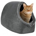 proudpet Cat Cave Hideout Bed Grey Pet Kitten Puppy Soft Tent House Shelter Small Dog