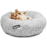 Large Cat Donut Grey Plush Pet Kitten Puppy Dog Nesting Bed