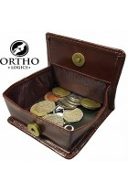 Orthologics Brown Leather Coin Pouch Folding Wallet Money Change Card Purse OL8
