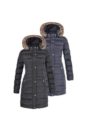 Womens Long Padded Puffer Jacket with Faux Fur Trimmed Hood