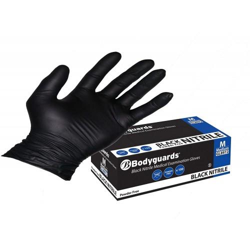 Bodyguards GL897 Powder Free Disposable Black Nitrile Gloves - Box of 100 (Medium)