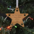 Wooden Hanging Star Decoration - Your Message