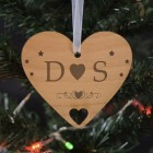 Wooden Hanging Heart Decoration - Your Initials