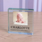 Glass Token Photo Frame Any Message, Engraved Glass Block Paperweight, Your Message Glass Photo Block, Personalised Gift