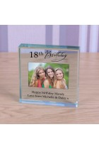 Personalised Any Age Birthday Token Photo Engraved Glass Block Paperweight Gift Glass Block 18th 21st 50th 70th Special Birthday Gift