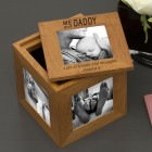 Me and Daddy Oak Wood Personalised Photo Cube