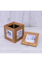 Oak Personalised Photo Cube Daddy love you