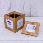 Happy 1st Fathers Day Personalised Oak Photo Cube