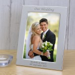 Personalised Engraved Our Wedding Silver Plated Photo Frame Custom Message Bride Groom Gift Couple Mr & Mrs Our Wedding Day Christmas Gift