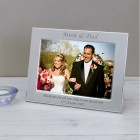 Personalised Engraved Mum and Dad Silver Plated Photo Frame Custom Message Wedding Gift Our Wedding Day Gift Parents of The Couple