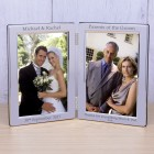 Personalised Wedding Party Role Silver Plated Double Photo Frame Groom Bride Parents Best Man Bridesmaid Wedding Gift