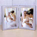 Personalised Sister Engraved Silver Plated Engraved Gift Double Photo Frame Sister Christmas Gift Wedding