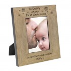 To Daddy on our First Christmas! Wood Frame 6x4