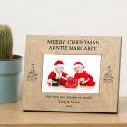 Merry Christmas Name Wood Frame 6x4