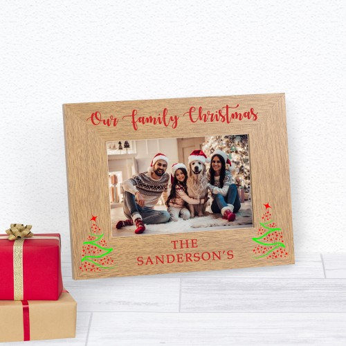 Our Family Christmas Wood Frame 6x4