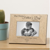 Our First Fathers Day Wood Photo Frame