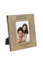 On Our First Valentines Day Wood Frame 6x4 Personalised Photo Frame