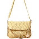 Embellished Quilted Shoulder Bag in Yellow