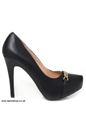 Chain Detail High Heel Shoes In Black