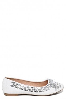 White And Silver Ballerina Flats Shoes
