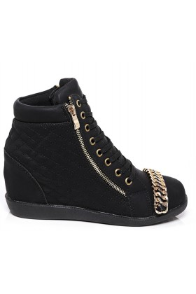 Wedge Quilted Trainer in Black