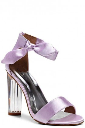 Lilac Satin Perspex Heel Sandals with Bow