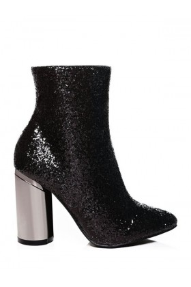 Two Faced Glitter Ankle Boots in Black