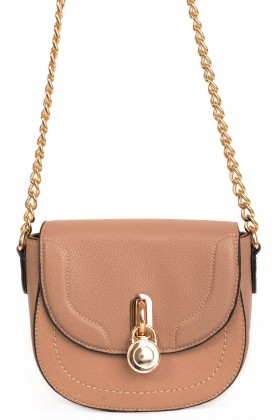 Mocha Faux Leather Bag with Lock Detail