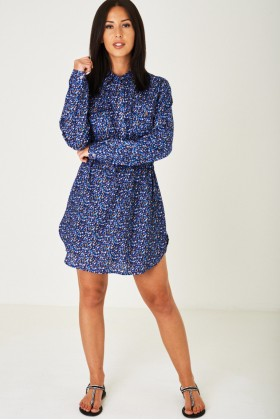 Floral Print Shirt Dress in Blue