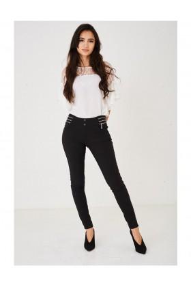 Ladies Black Fleece Trousers High Waist