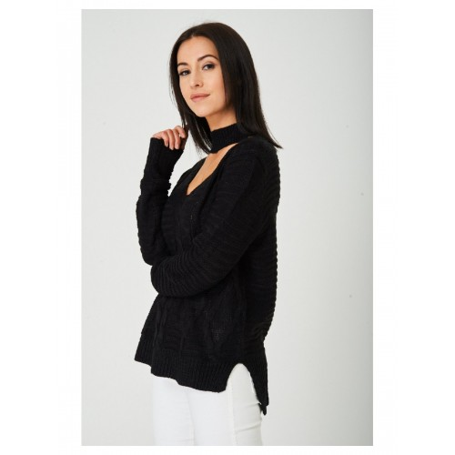 Choker Neck Black Cable Knit Jumper