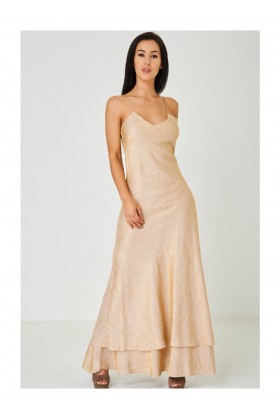 Beige Fishtail Maxi Party Dress Evening Gown