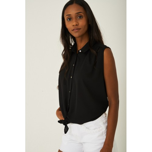 Knot Front Sheer Top in Black
