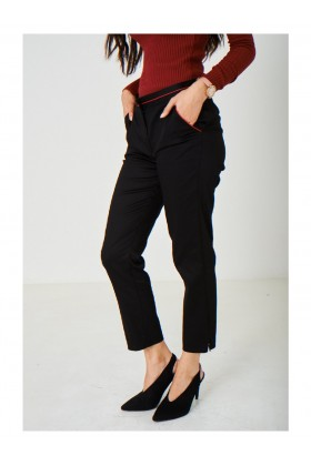 Black Trousers with Contrast Stripes