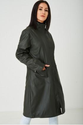 Long Faux Leather Jacket in Dark Khaki