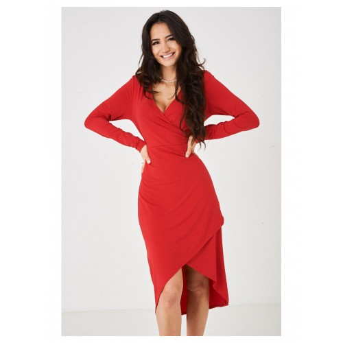 Wrap Front Slinky Dress in Red