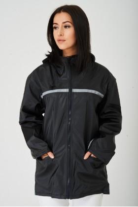 Ladies Black Wax Hooded Jacket